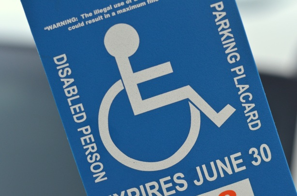 My disabled person parking placard.